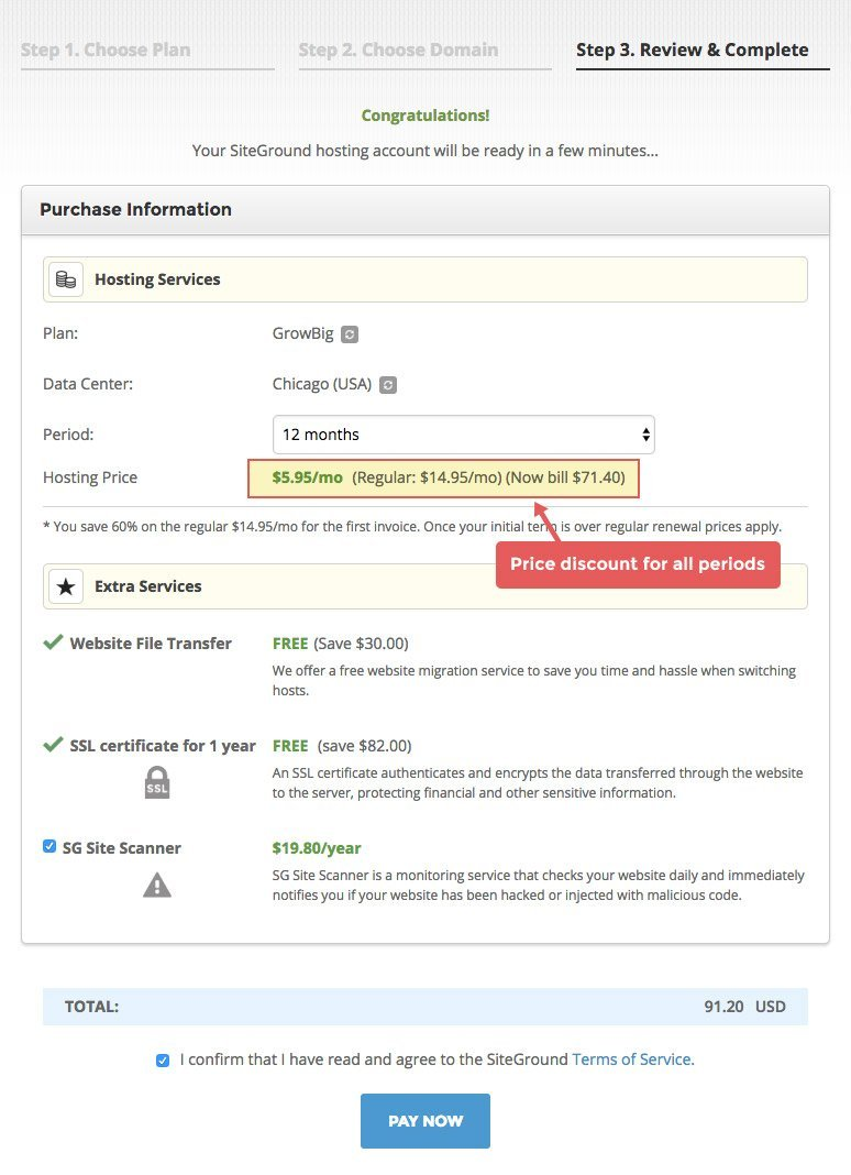 SiteGround hosting signup step 3.